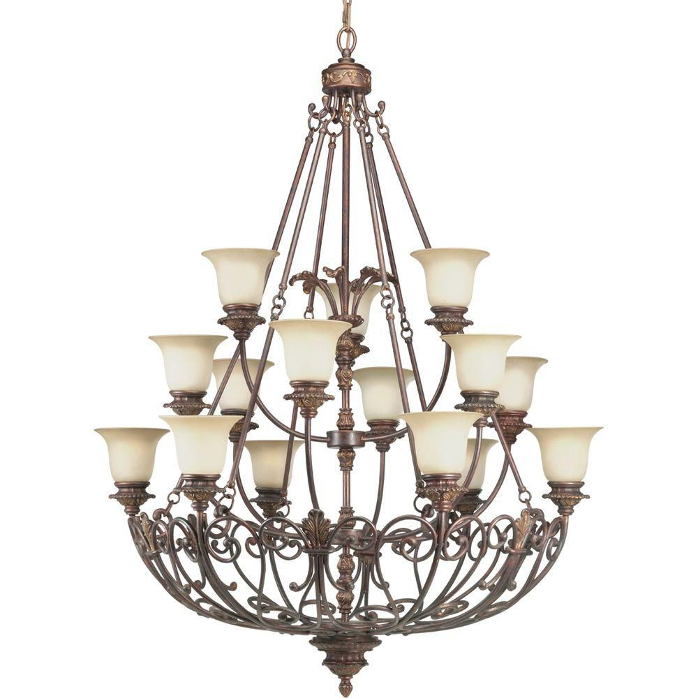 Messina Collection Aged Mahogany Fifteen-Light Chandelier