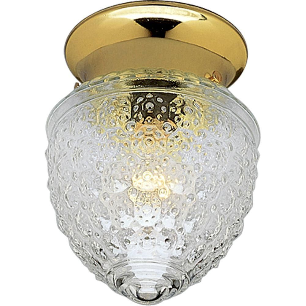 Polished Brass One-Light Close-to-Ceiling Light Fixture