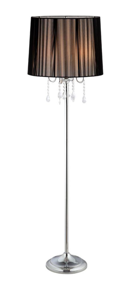 hampton bay logan chrome floor lamp the home depot canada. Black Bedroom Furniture Sets. Home Design Ideas