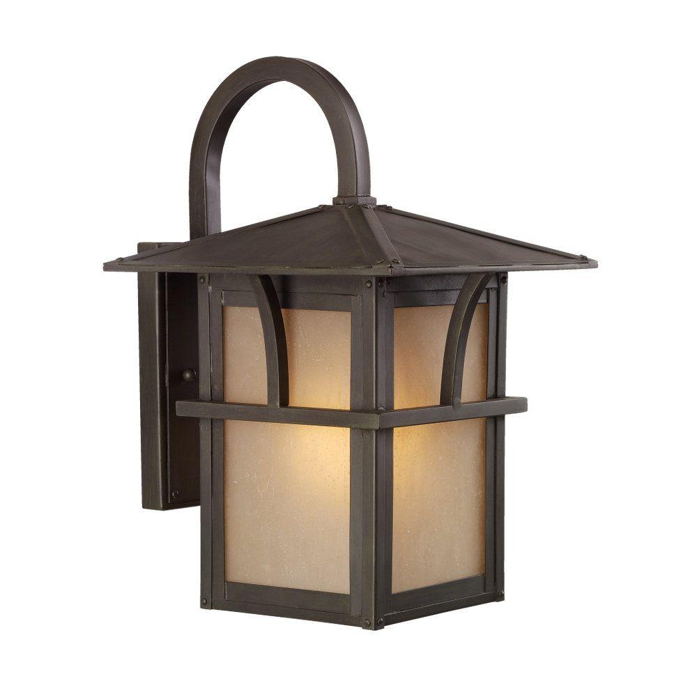 1-Light Statuary Bronze Outdoor Wall Lantern