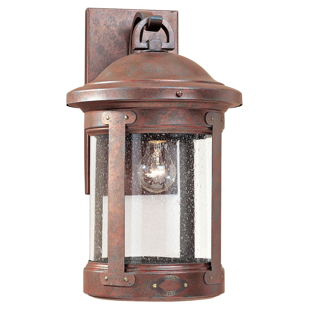 1-Light Weathered Copper Outdoor Wall Lantern