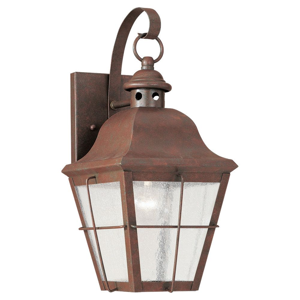 1 Light Weathered Copper Incandescent Outdoor Wall Lantern