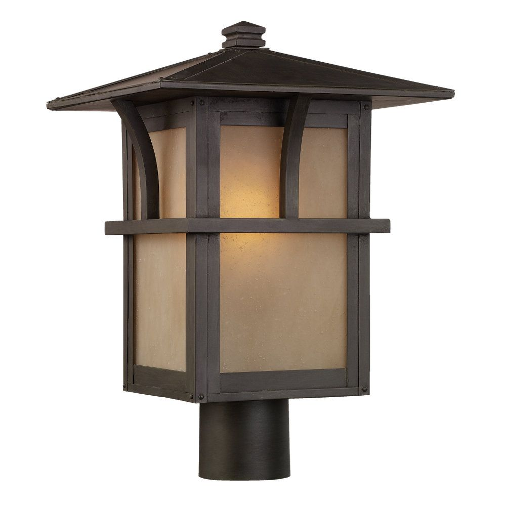 1-Light Statuary Bronze Outdoor Post Lantern