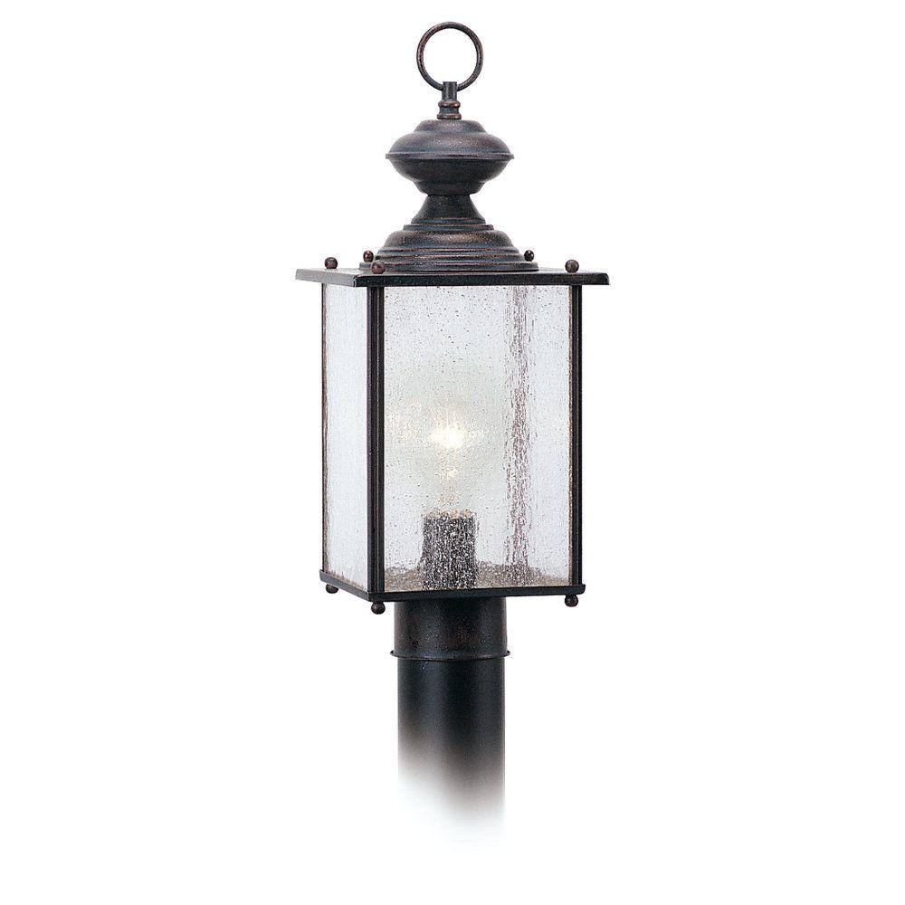 1-Light Textured Rust Patina Outdoor Post Lantern