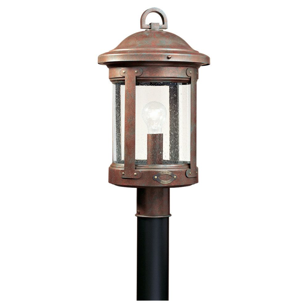 1-Light Weathered Copper Outdoor Post Lantern