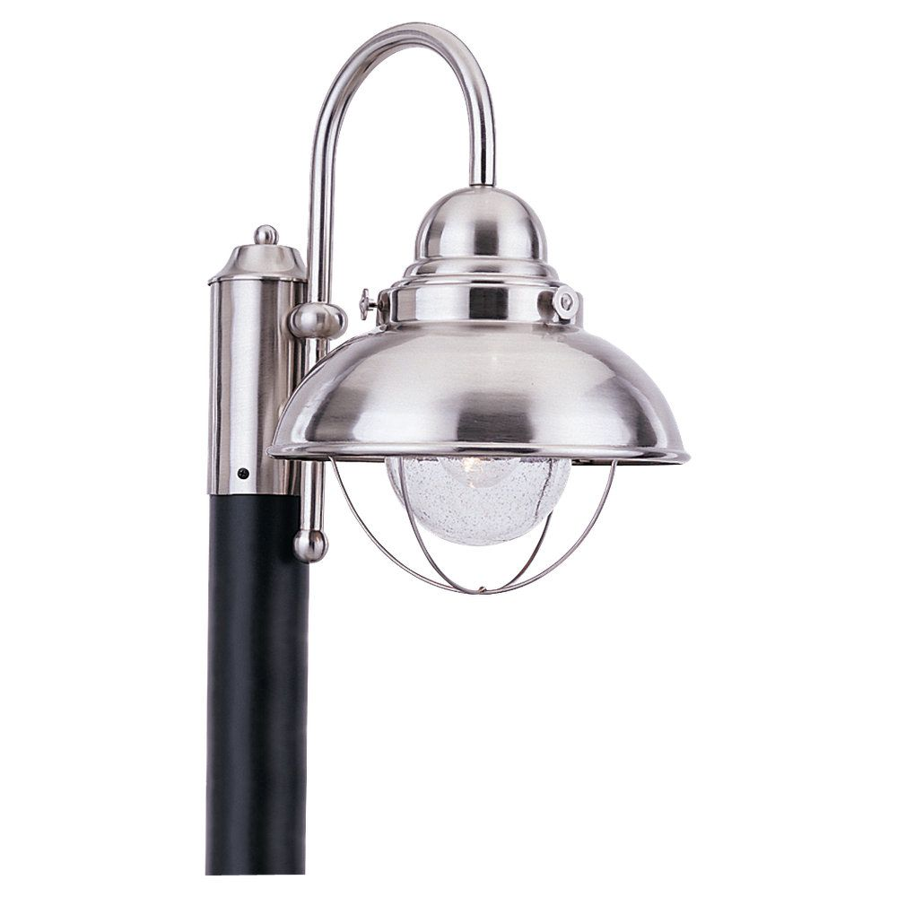 1-Light Brushed Stainless Outdoor Post Lantern