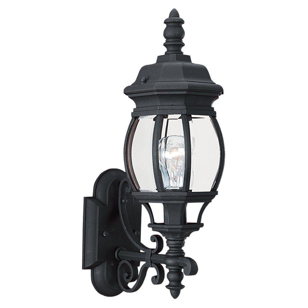 1-Light Black Outdoor Wall Lantern