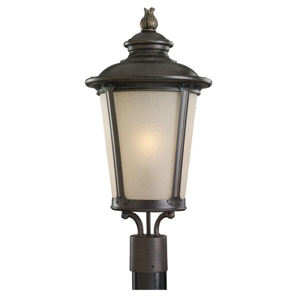 1-Light Burled Iron Outdoor Post Lantern