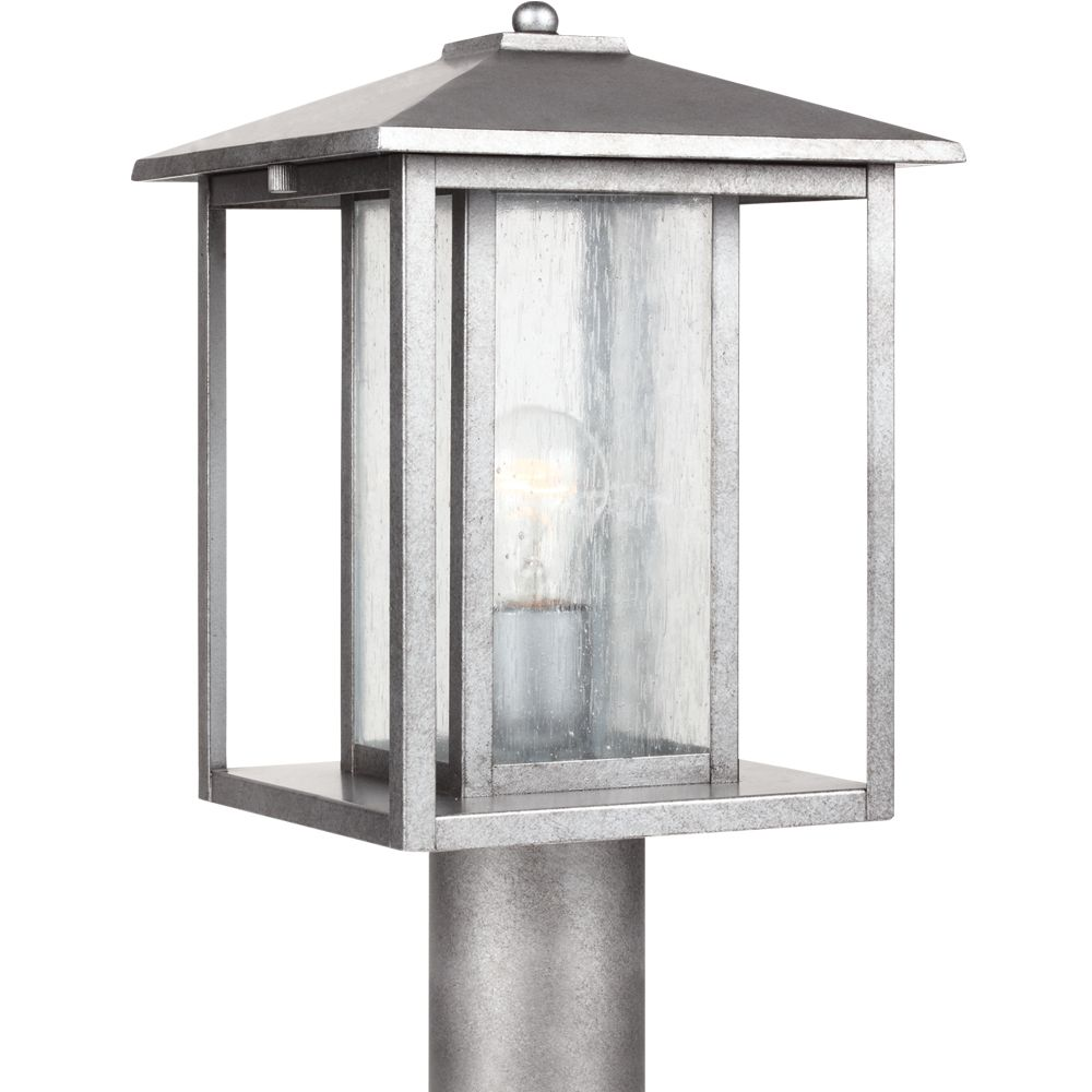 1-Light Weathered Pewter Outdoor Post Lantern