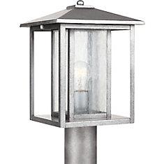 1-Light Weathered Pewter Outdoor Post Lantern