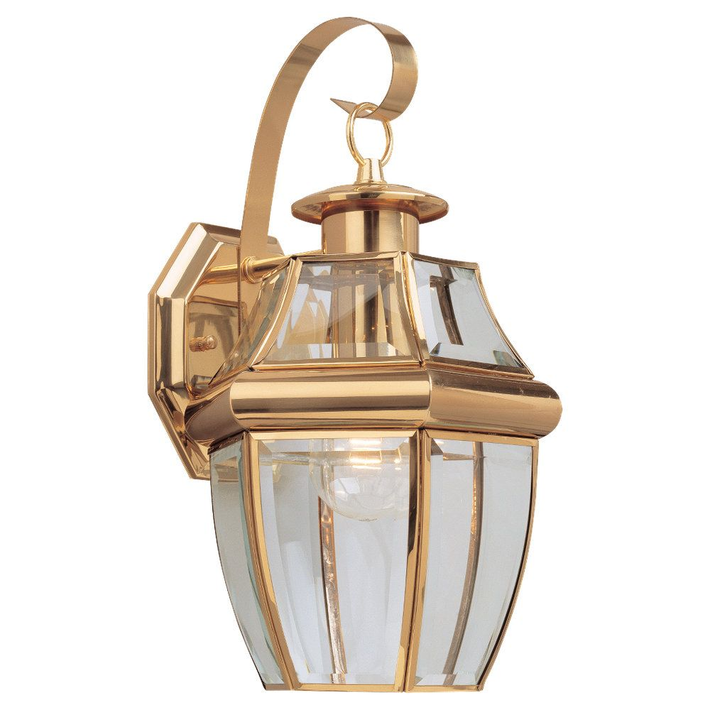 1 Light Polished Brass Incandescent Outdoor Wall Lantern