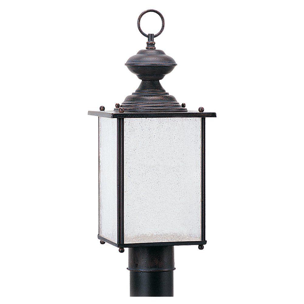 1 Light Textured Rust Patina Fluorescent Outdoor Post Lantern