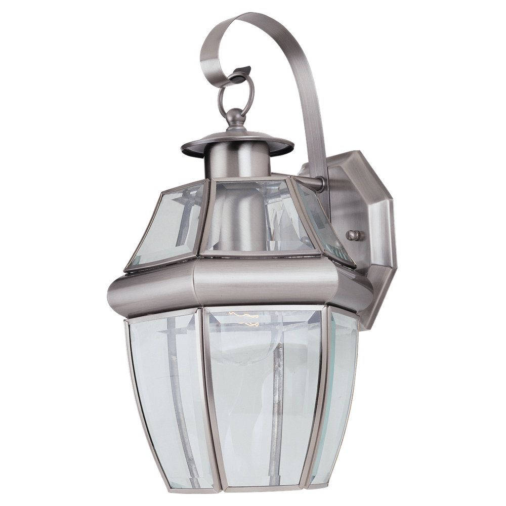 1-Light Antique Brushed Nickel Outdoor Wall Lantern