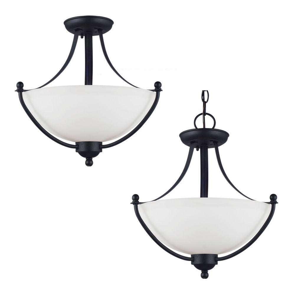 Plafonnier Seagull à deux ampoules avec abat-jour de spécialité, Fini noir