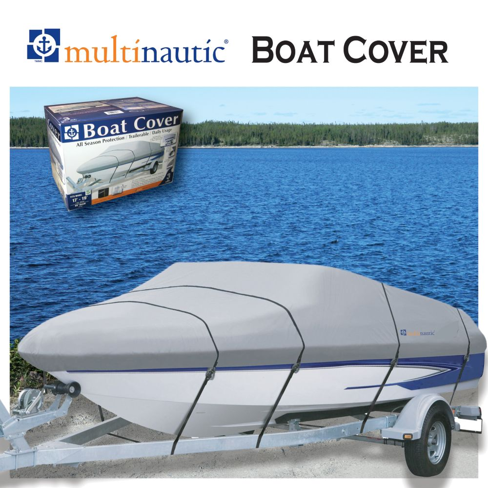 Oxford Nylon Towable Boat Cover for Boats 17 ft. to 19 ft. with 96-inch Beam in Grey