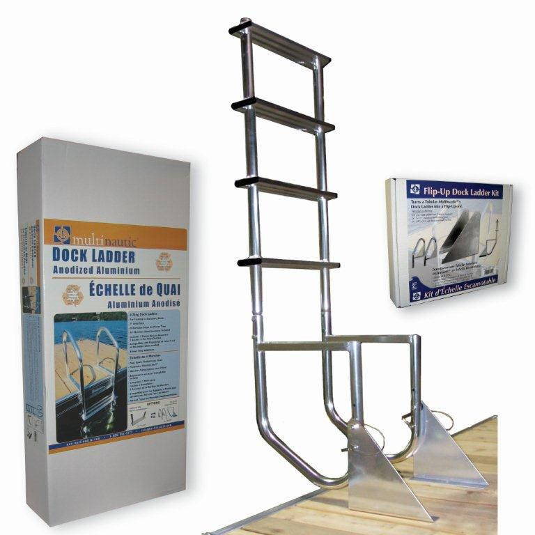 Multinautic Aluminum Dock Ladder 4 Steps Flip Up The