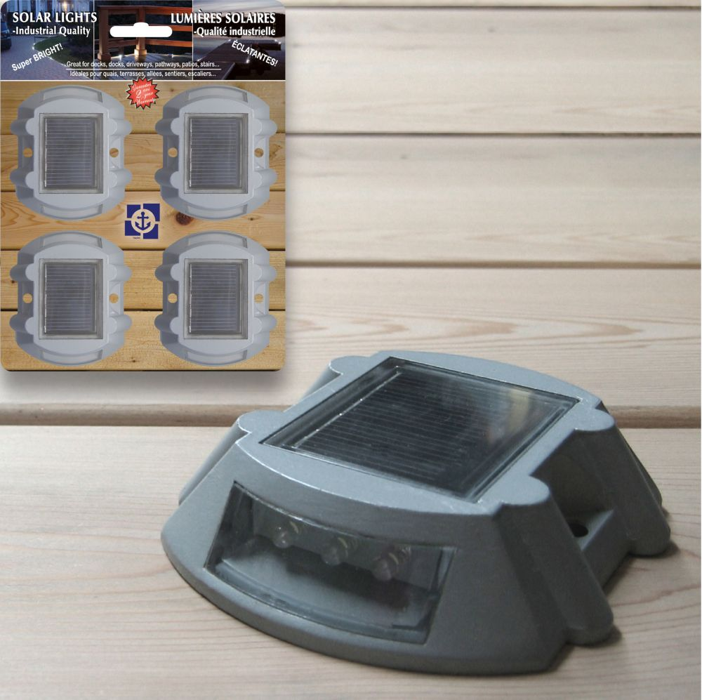 Solar LED Aluminum Dock and Deck Lights (4 Pack)
