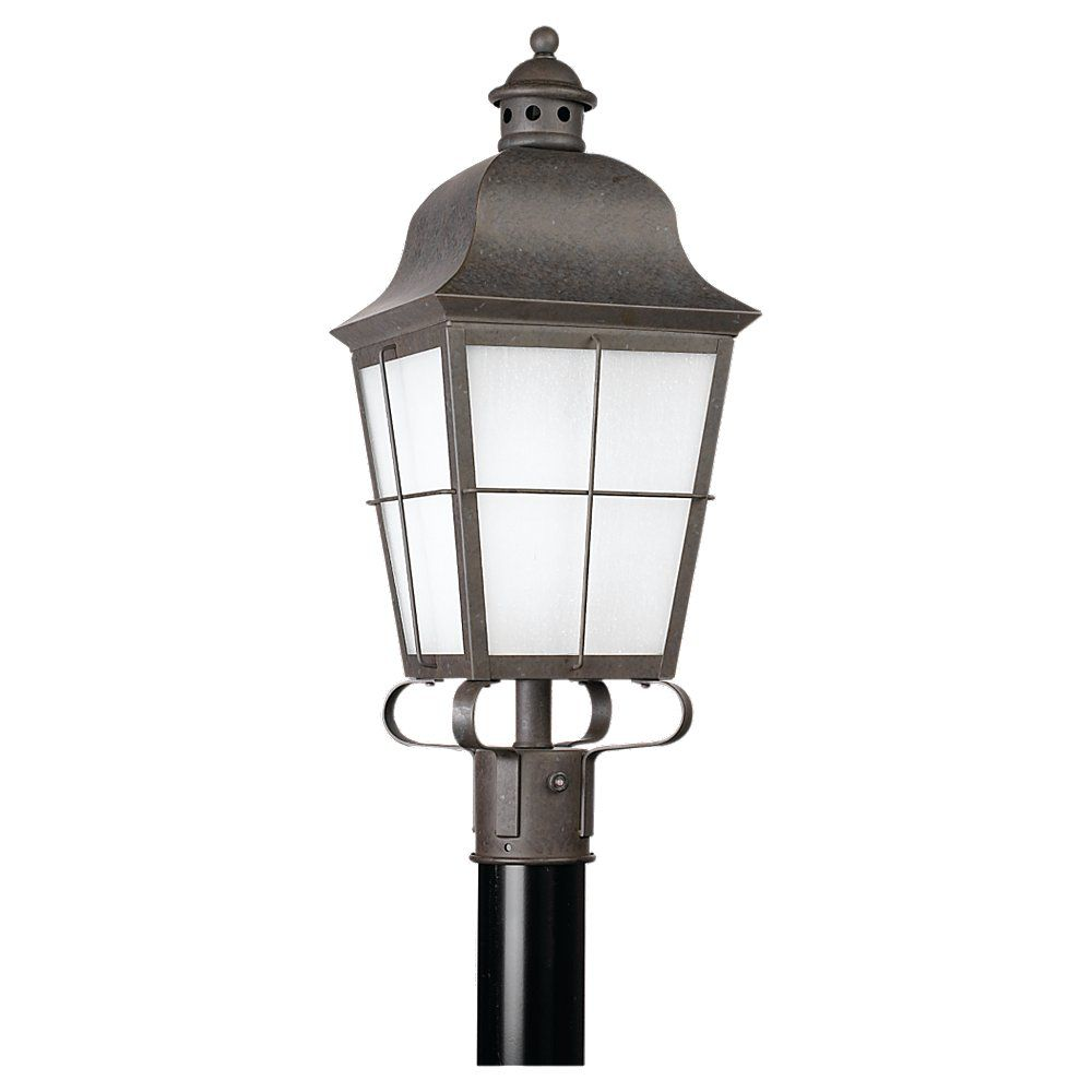 1 Light Oxidized Bronze Fluorescent Outdoor Post Lantern