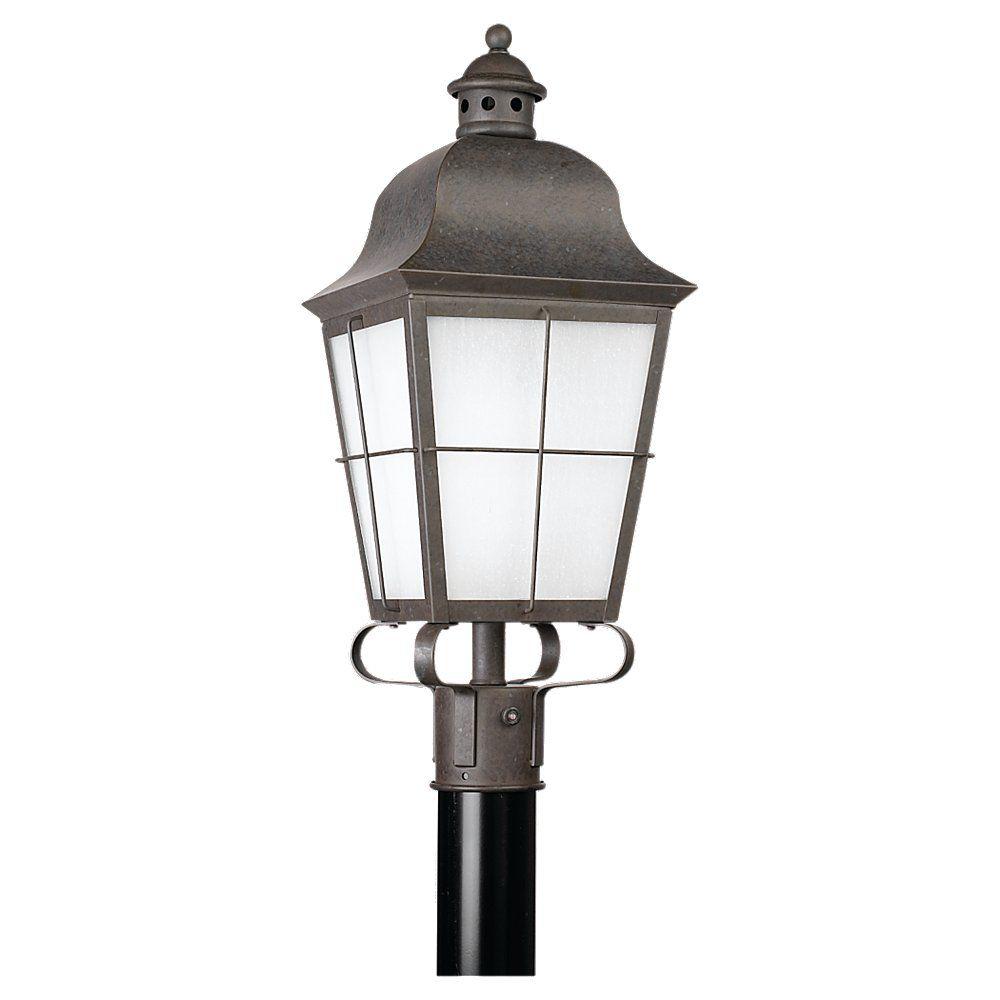 1 Light Oxidized Bronze Fluorescent Outdoor Post Lantern