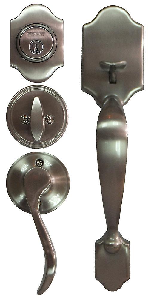 Defiant Naples Satin Nickel Single Cylinder Knob Door