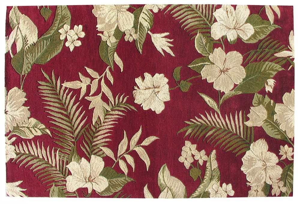 Belize Fern Red Wool Rug 5 Ft. x 8 Ft. Area Rug 15528 Canada Discount