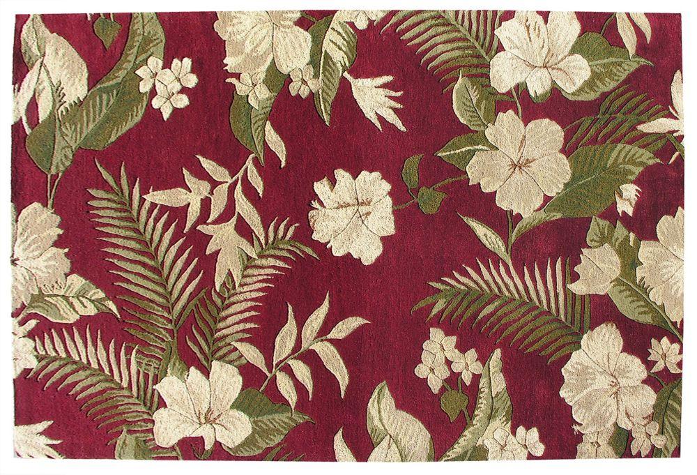 Belize Fern Red Wool Rug 5 Ft. x 8 Ft. Area Rug