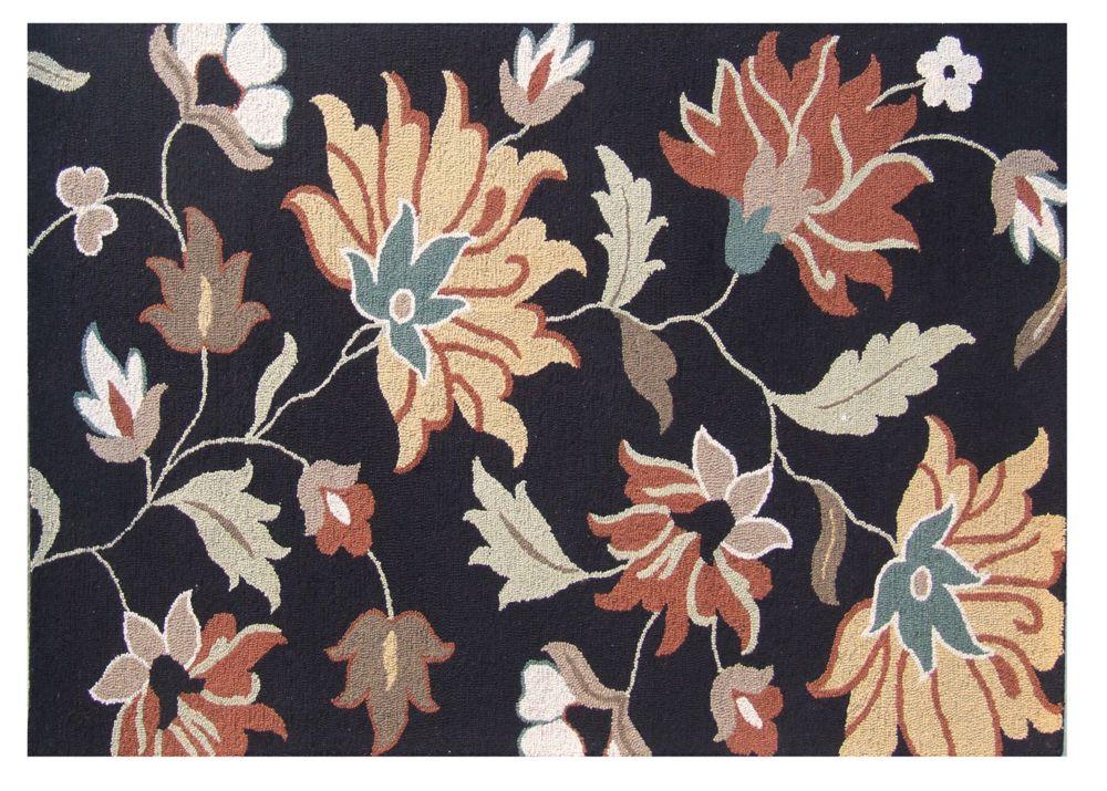 Tapis De Toscane En Boucle Florale Noire 5 Pi. x 8 Pi.