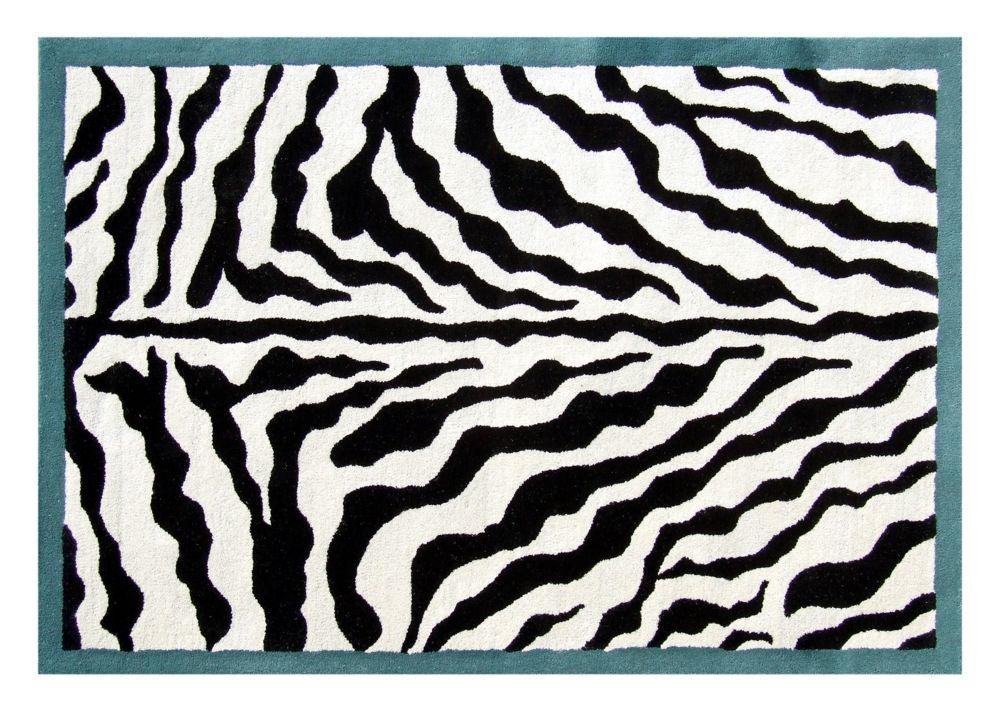 Teal Border Zebra Print Wool 3 Ft. x 5 Ft. Area Rug