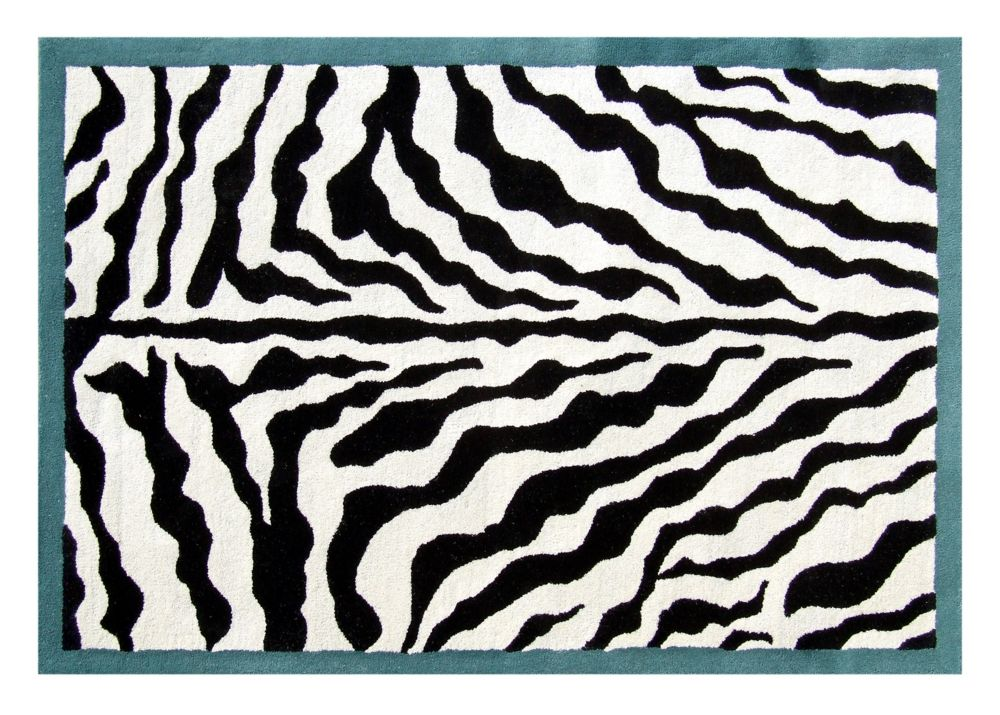 Teal Border Zebra Print Wool Rug 5 Ft. x 8 Ft. Area Rug