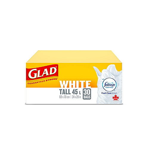 White Garbage Bags - Tall 45 Litres - Febreze Fresh Clean Scent, 30 Trash Bags