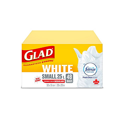 White Garbage Bags - Small 25 Litres - Febreze Fresh Clean Scent, 48 Trash Bags