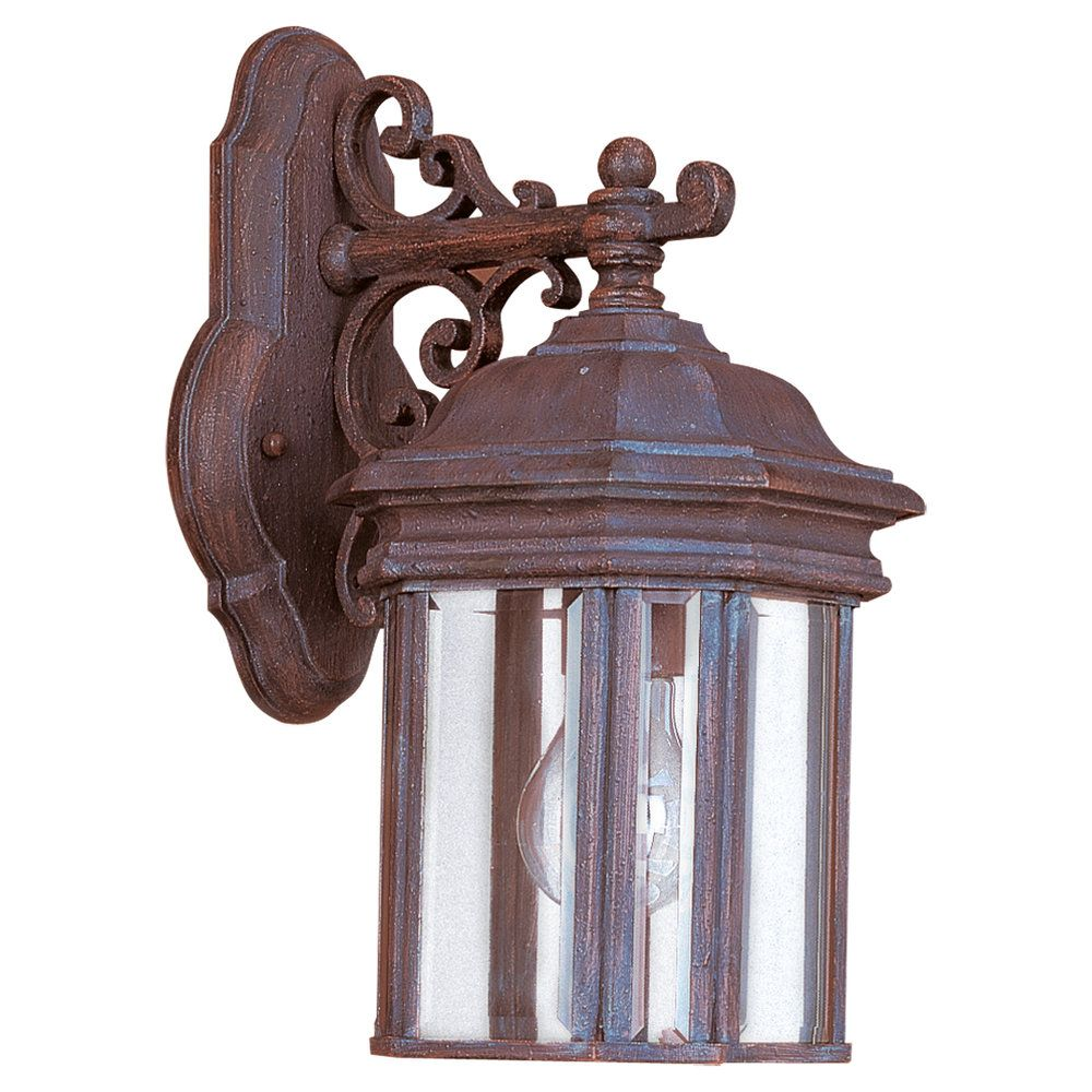 1 Light Textured Rust Patina Incandescent Outdoor Wall Lantern 8835-08 in Canada