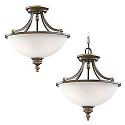 Sea Gull Lighting Plafonnier Seagull à deux ampoules avec abat-jour de spécialité, Fini bronze