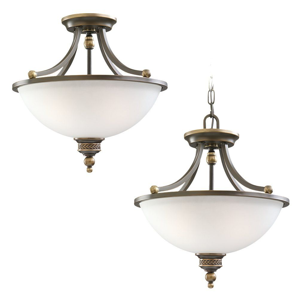 2-Light Estate Bronze Semi-Flush