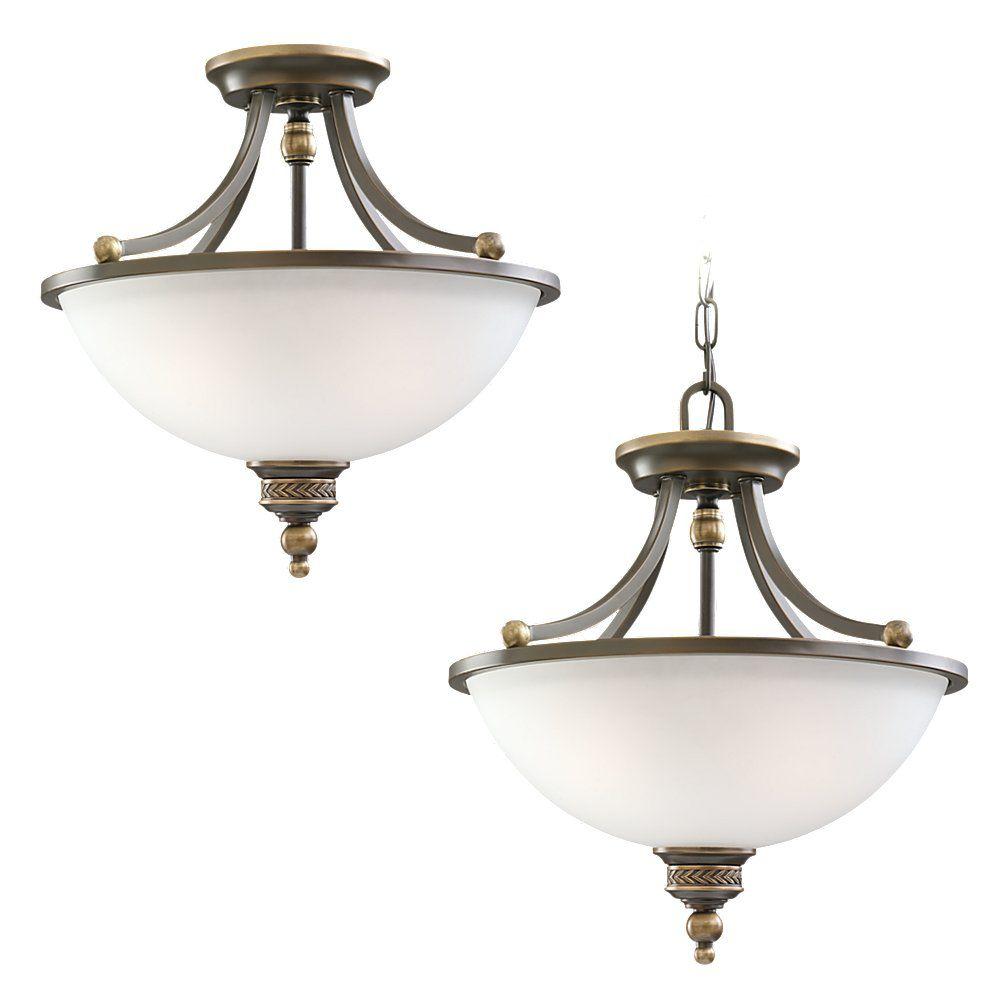 Sea Gull Lighting 2-Light Estate Bronze Semi-Flush