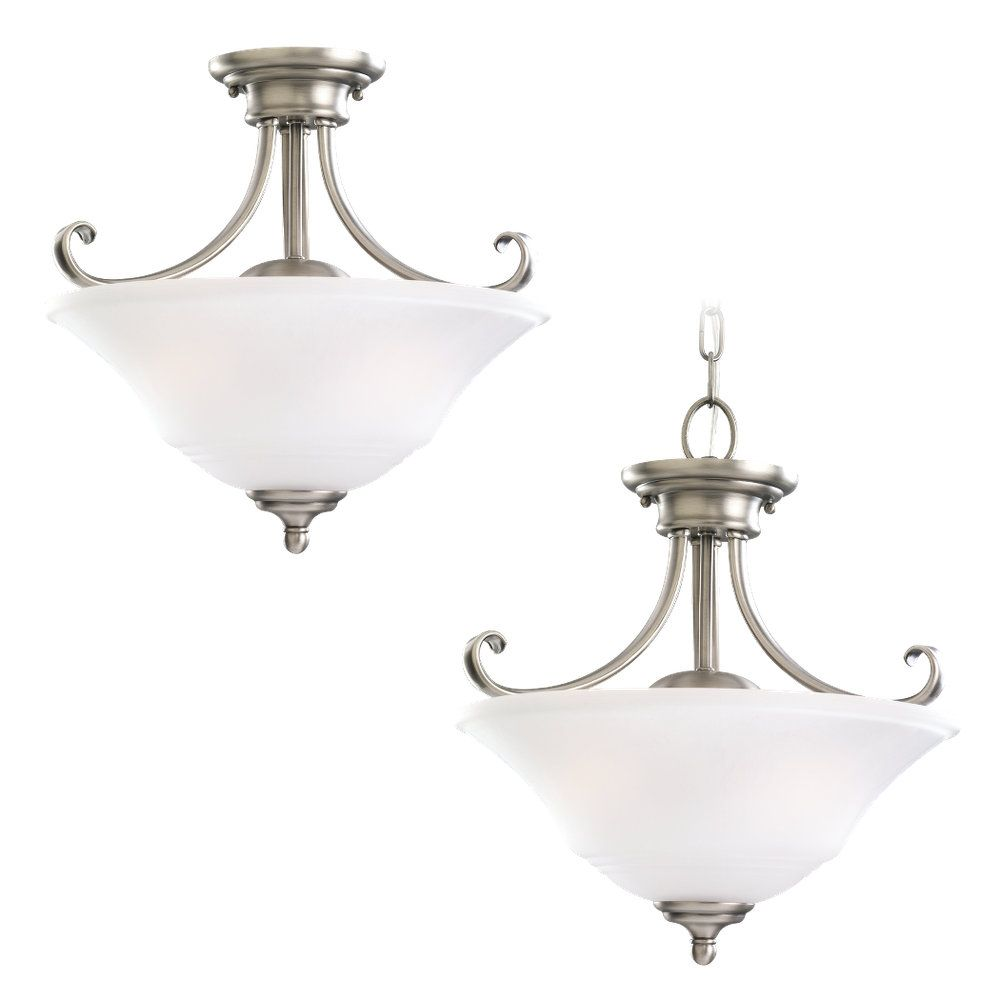 2-Light Antique Brushed Nickel Semi-Flush