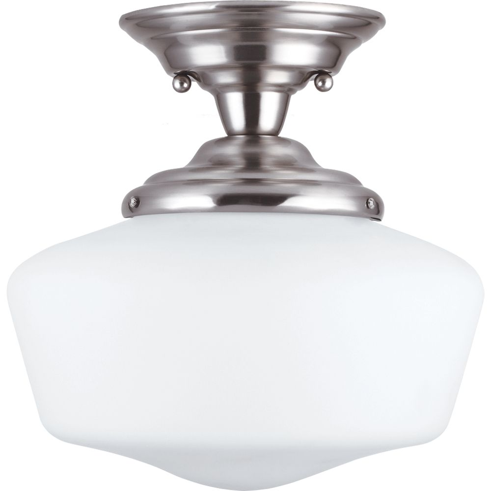 1-Light Brushed Nickel Semi-Flush