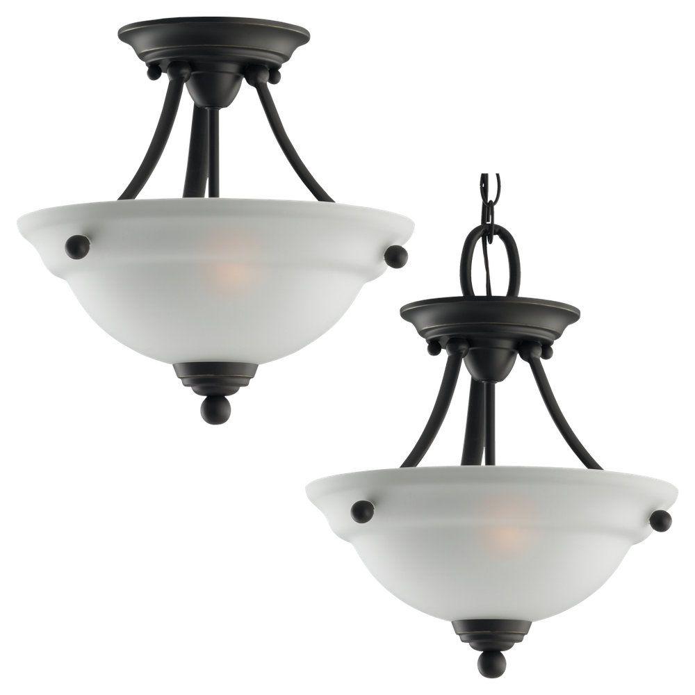 2-Light Heirloom Bronze Semi-Flush