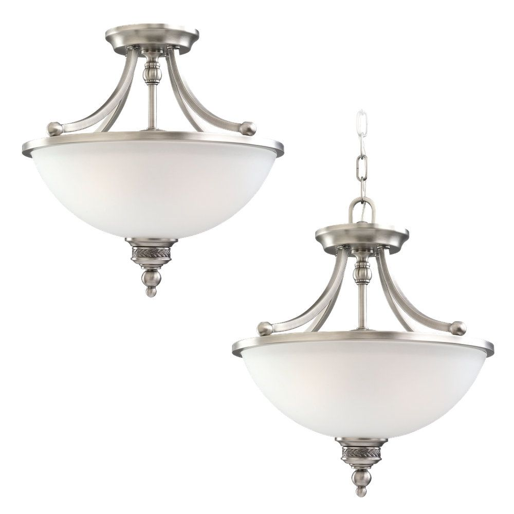 2 Light Antique Brushed Nickel Incandescent Semi-Flush