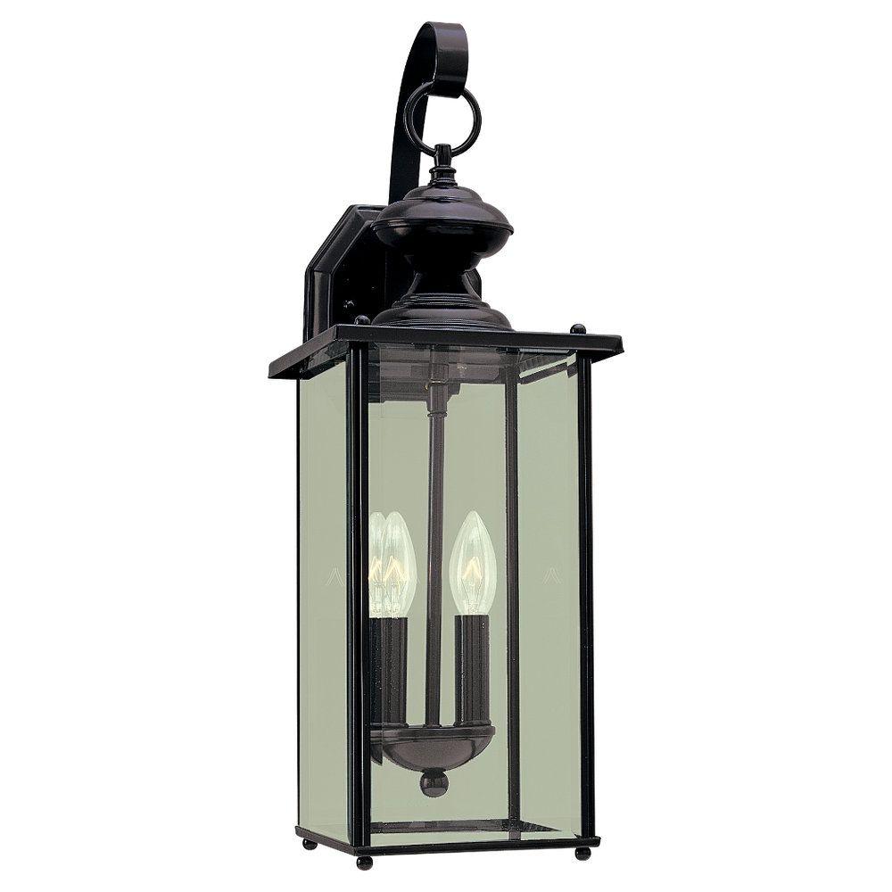 Lumière Seagull fixée au mur à deux ampoules avec abat-jour clair, Fini noir