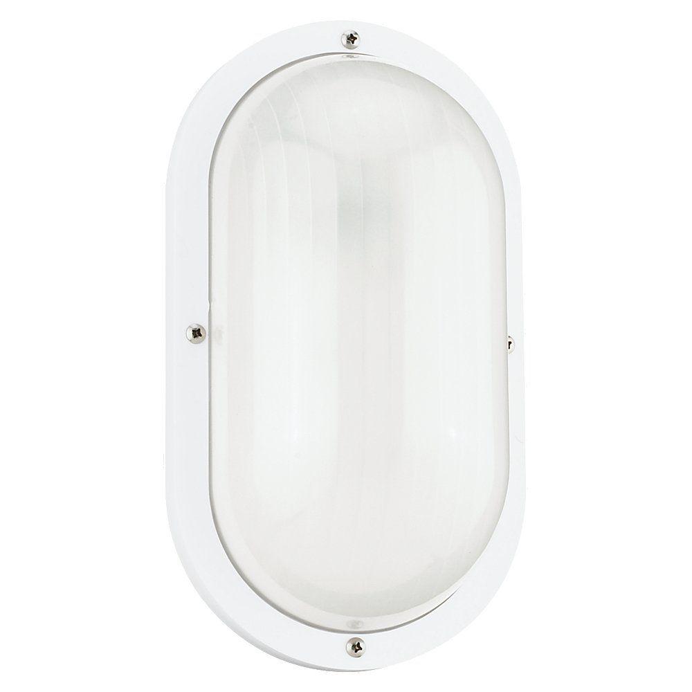 Lumière Seagull fixée au mur à une ampoule avec abat-jour givré, Fini blanc