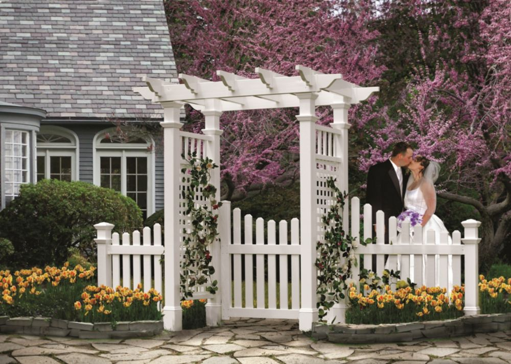 New England Arbors Fairfield Arbour with Trim Gate & Wings