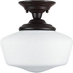 1-Light Heirloom Bronze Semi-Flush Light Fixture