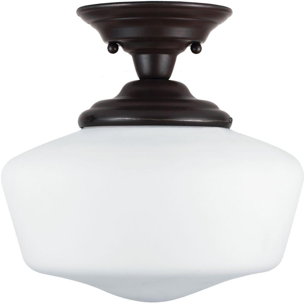 Plafonnier Seagull à une ampoule avec abat-jour blanc, Fini bronze