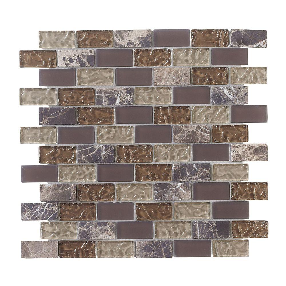 1 Inch x 2 Inch  Em/ador Brick 12 Inch x 12 Inch Glass/Stone Mosaic Wall Tile (10 Sq. Ft./Case)
