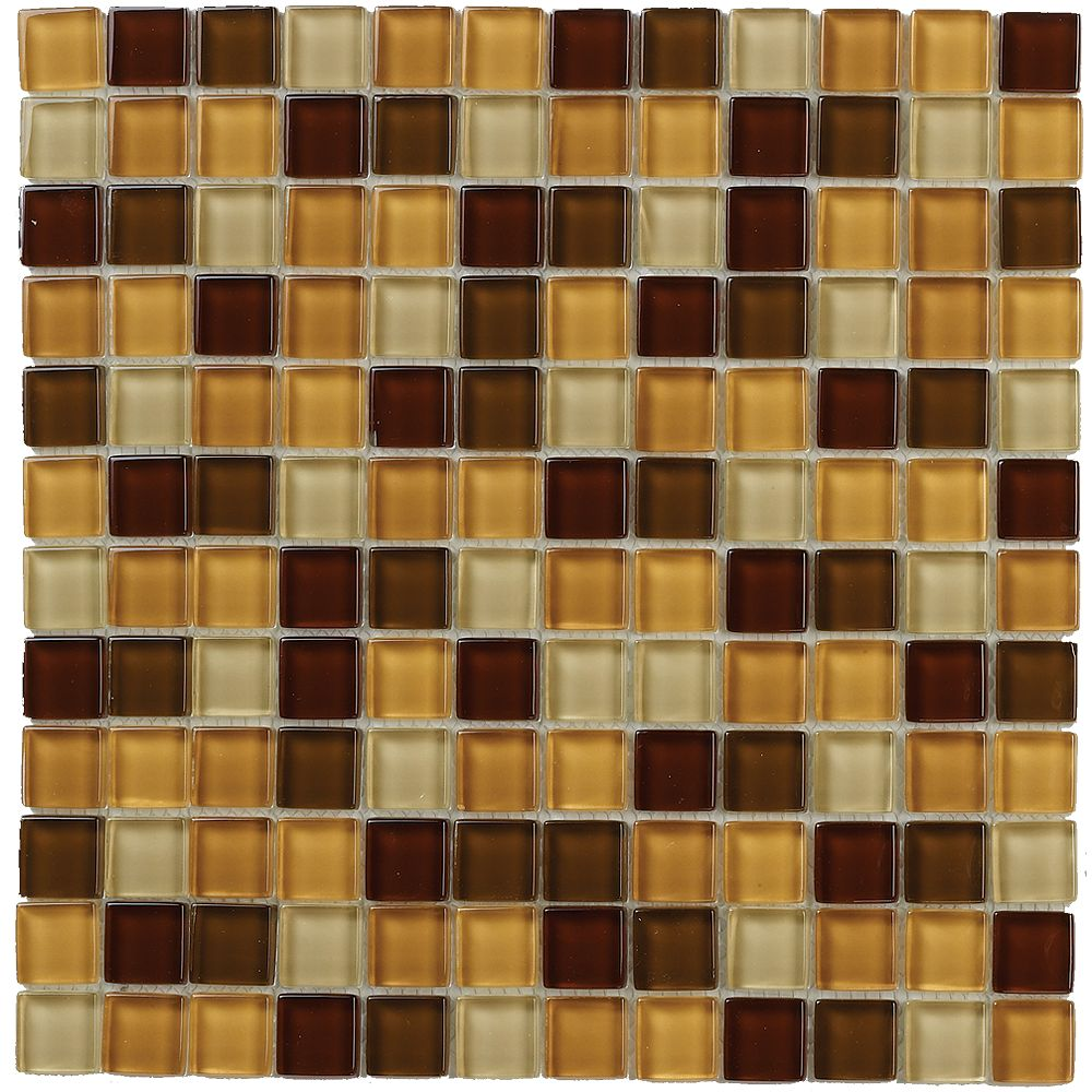 Jeffrey Court 12-inch x 12-inch Glass Mosaic Wall Tile in Sienna Terra (15 sq. ft./case)