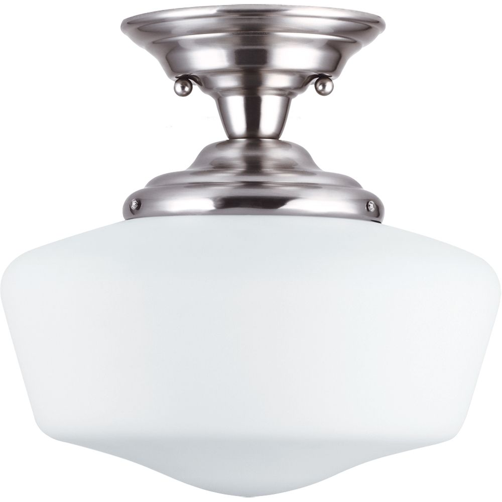 1 Light Brushed Nickel Incandescent Semi-Flush