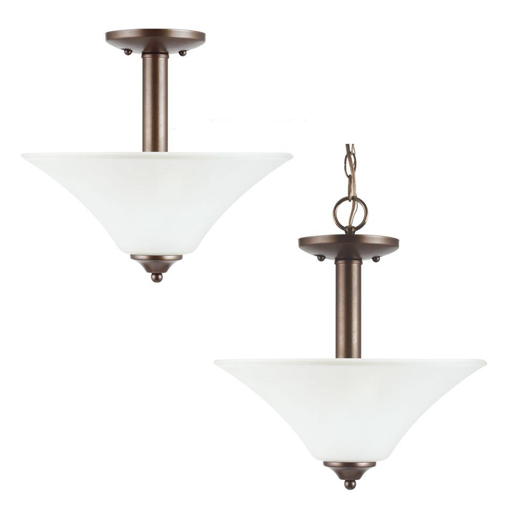 2 Light Bell Metal Bronze Fluorescent Semi-Flush
