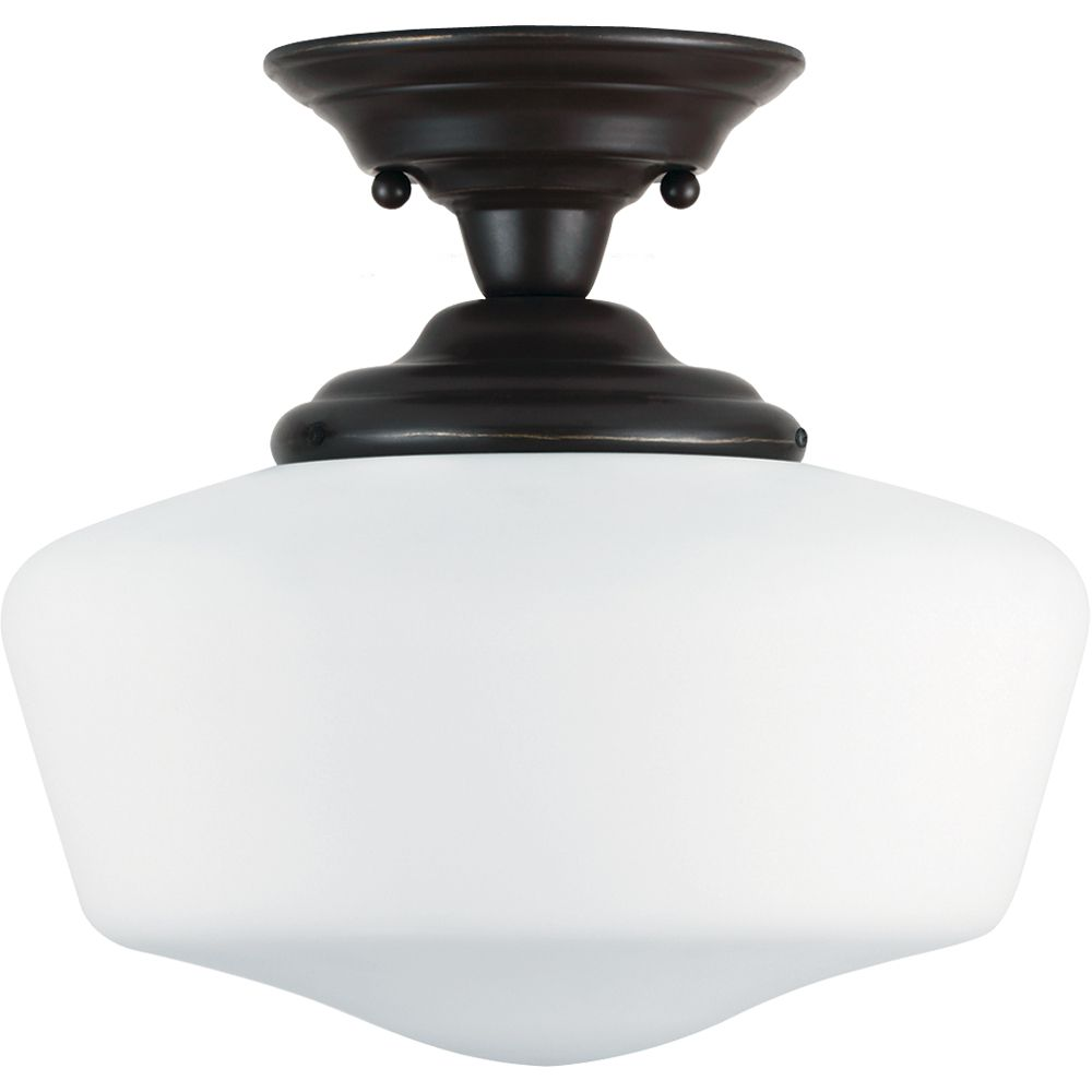 1 Light Heirloom Bronze Fluorescent Semi-Flush