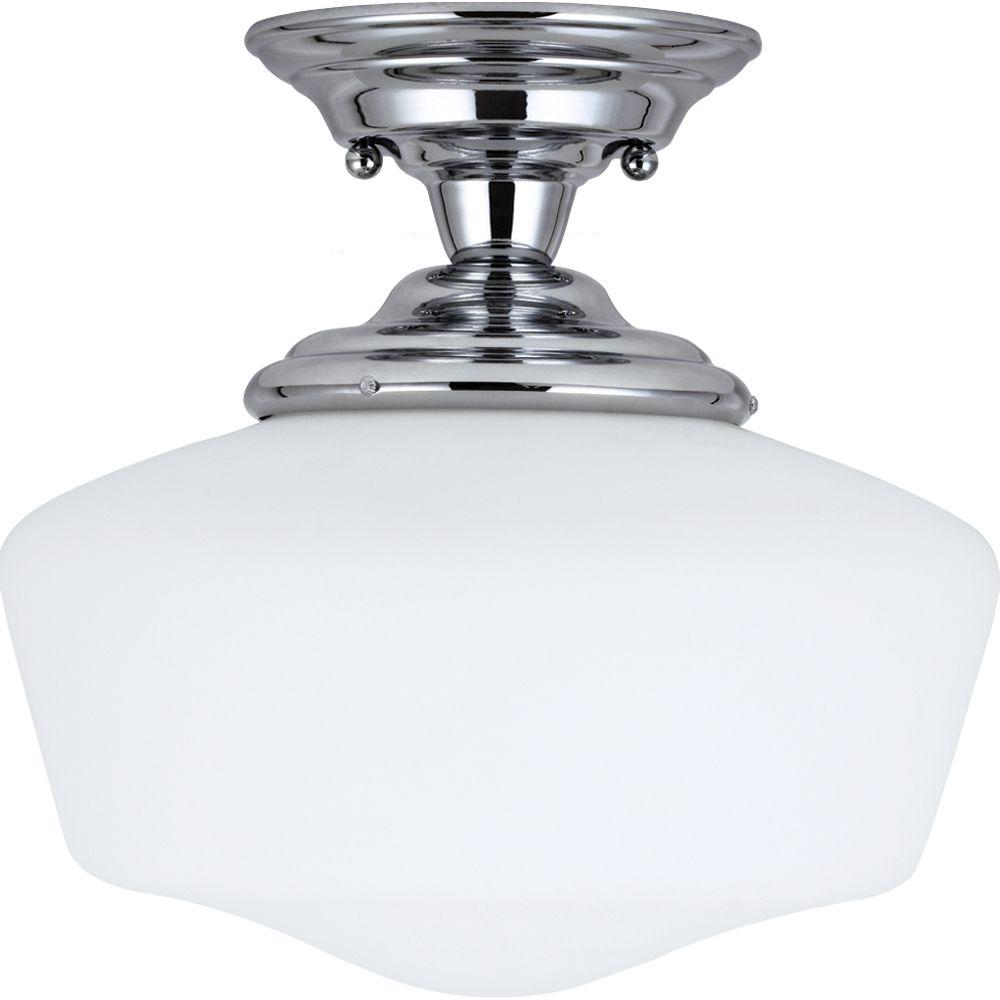 1 Light Chrome Fluorescent Semi-Flush
